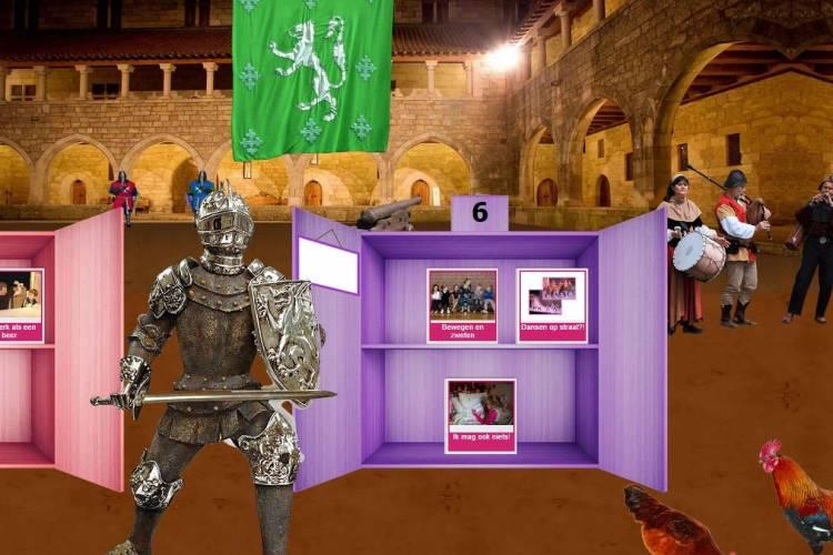 Screenshot uit Leeskilometers met ridder en kasteel