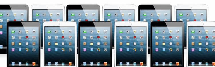 Aantal iPads op een rij
