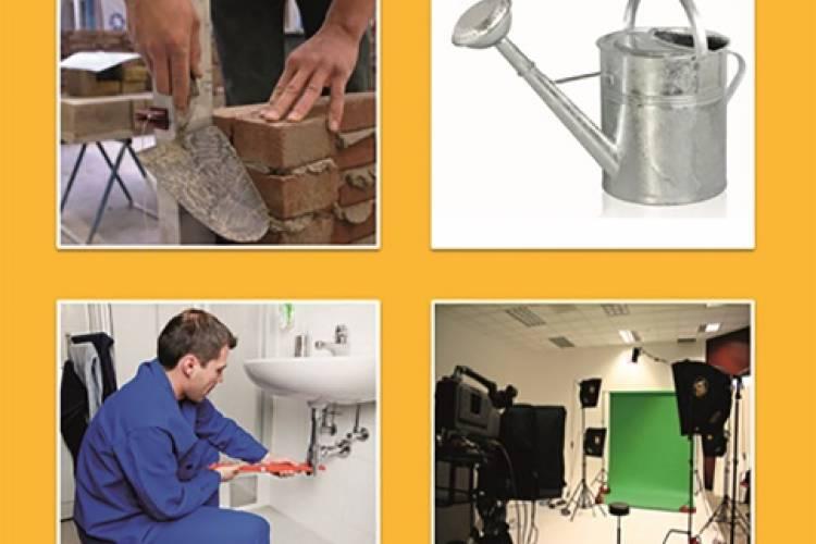 Figuur 1: voorbeeld van een test-item. Doelwoord: loodgieter, fonologische afleider: gieter, semantische afleider: metselaar, niet verwante afleider: studio.