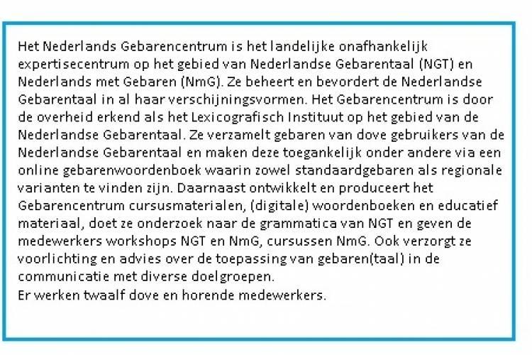 Beschrijving van het Nederlands GebarenCentrum