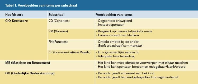 Tabel 1, voorbeeld items per subschaal van de CIO