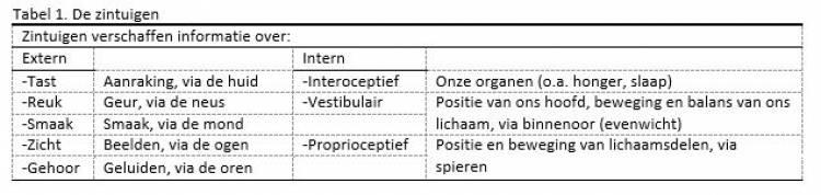 Tabel 1, de zintuigen