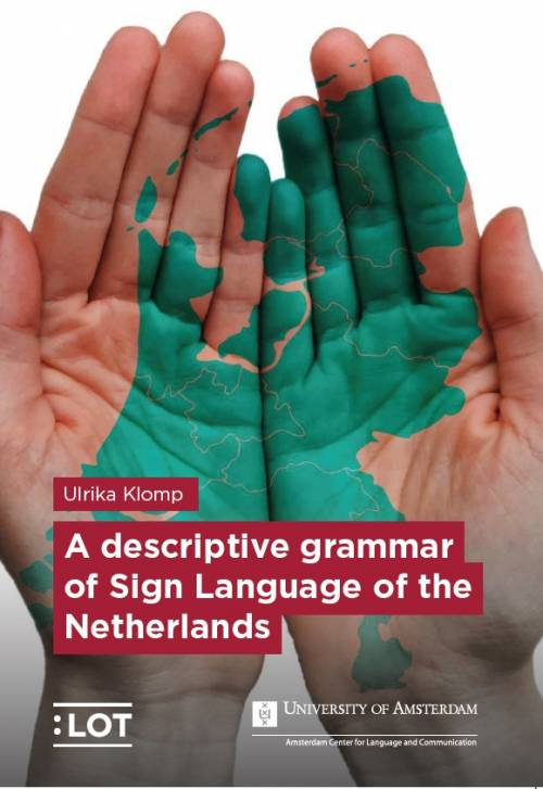 cover van het proefschrift van Ulrike Klomp. Twee open handen met  de kaart van Nederland in groene verf op de handen.