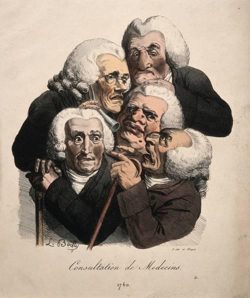 Tekening uit 1760 met artsen in overleg